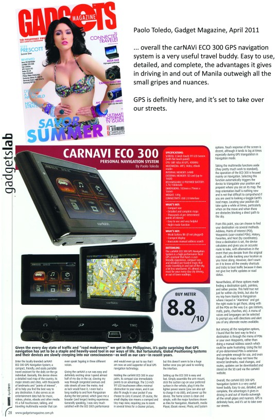 Gadget Magazine April 2011, carNAVi review