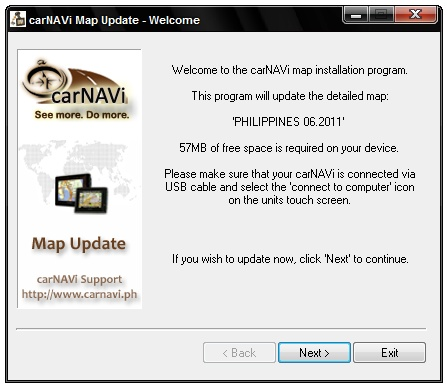 Download latest carNAVi GPS map updates for the Philippines