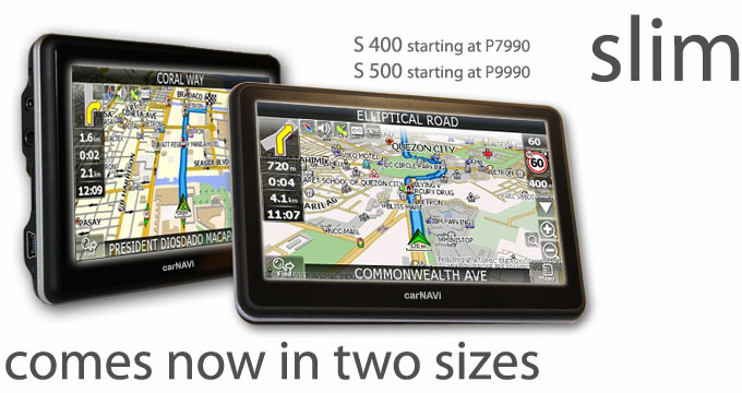 carNAVi newsletter title picture containing S400 and S500 GPS for the Philippines for revolutionary price